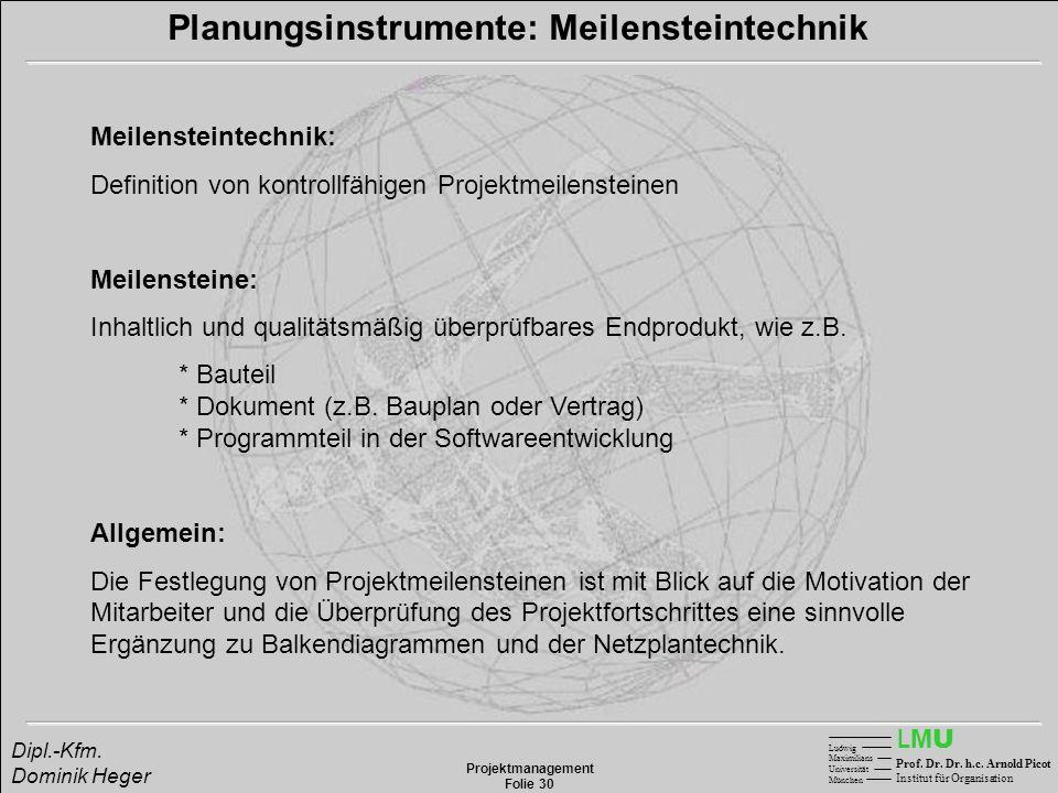 LMULMU Ludwig Maximilians Universität München Prof. Dr. Dr. h.c. Arnold Picot Institut für Organisation Projektmanagement Folie 30 Dipl.-Kfm. Dominik