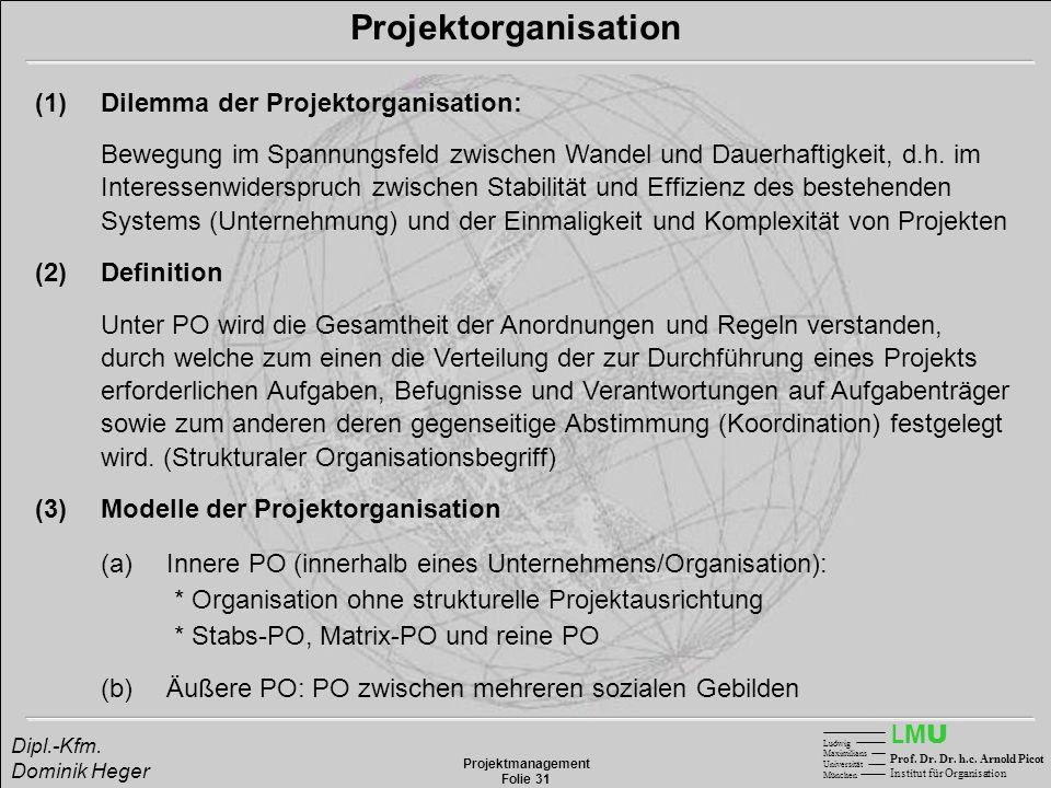 LMULMU Ludwig Maximilians Universität München Prof. Dr. Dr. h.c. Arnold Picot Institut für Organisation Projektmanagement Folie 31 Dipl.-Kfm. Dominik