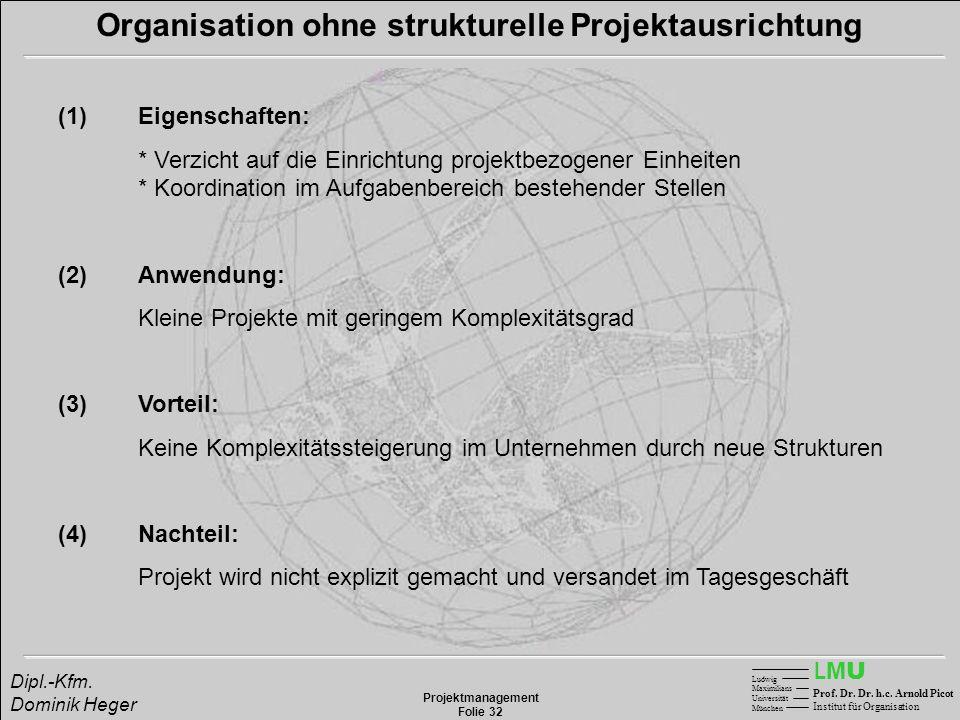 LMULMU Ludwig Maximilians Universität München Prof. Dr. Dr. h.c. Arnold Picot Institut für Organisation Projektmanagement Folie 32 Dipl.-Kfm. Dominik