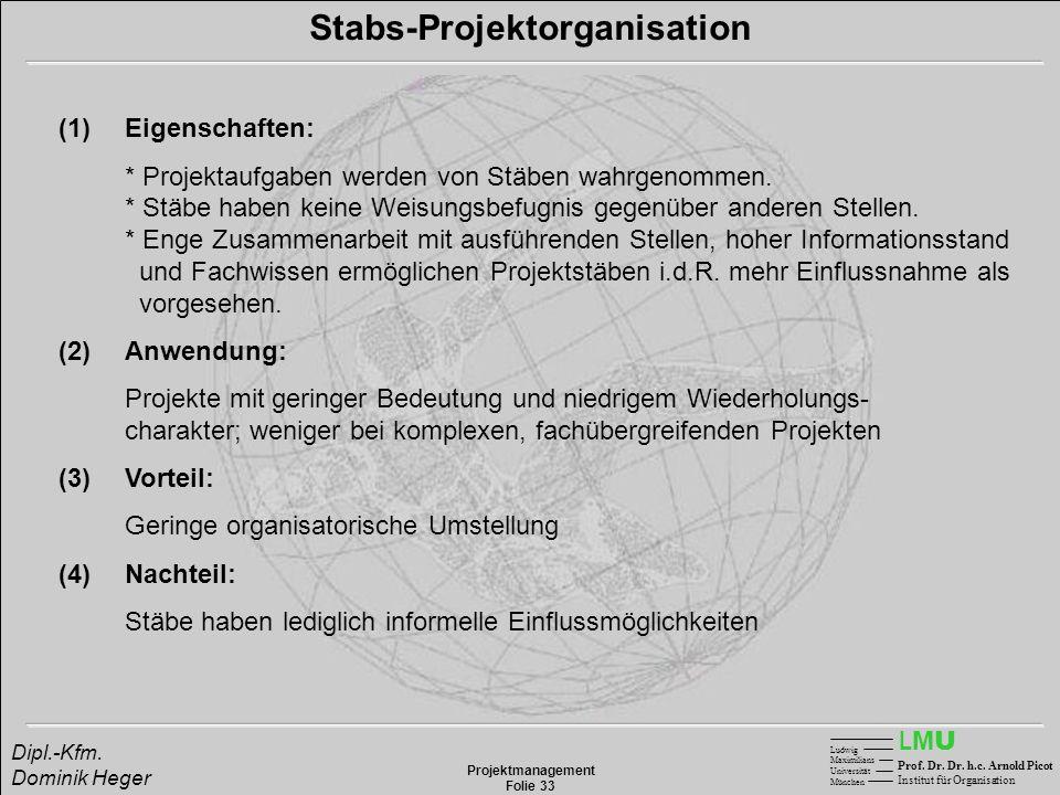 LMULMU Ludwig Maximilians Universität München Prof. Dr. Dr. h.c. Arnold Picot Institut für Organisation Projektmanagement Folie 33 Dipl.-Kfm. Dominik