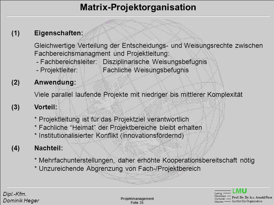 LMULMU Ludwig Maximilians Universität München Prof. Dr. Dr. h.c. Arnold Picot Institut für Organisation Projektmanagement Folie 35 Dipl.-Kfm. Dominik