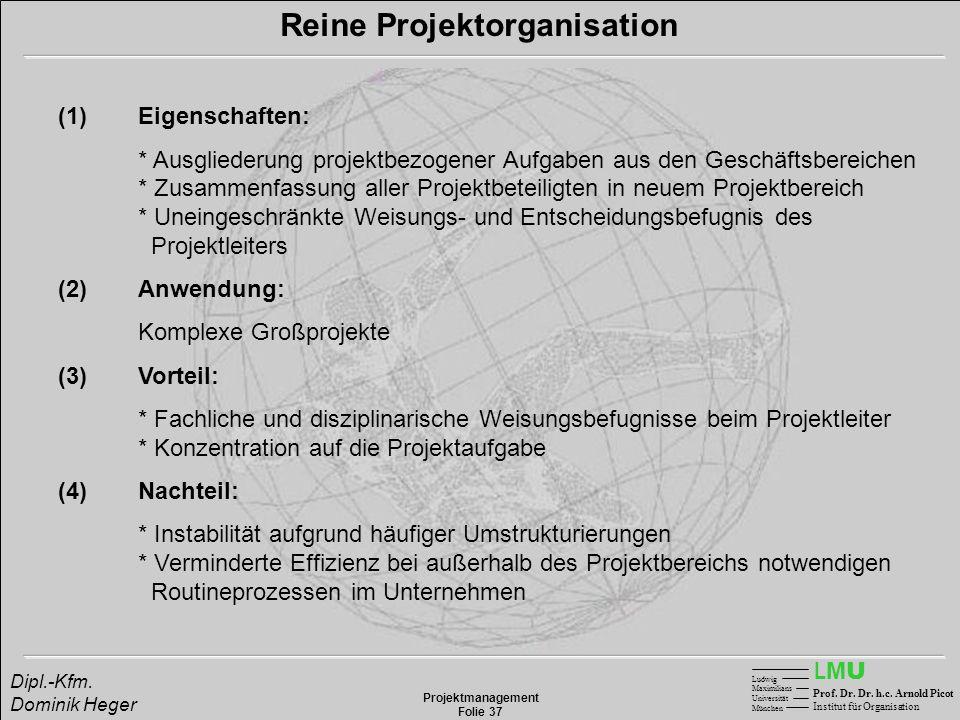 LMULMU Ludwig Maximilians Universität München Prof. Dr. Dr. h.c. Arnold Picot Institut für Organisation Projektmanagement Folie 37 Dipl.-Kfm. Dominik