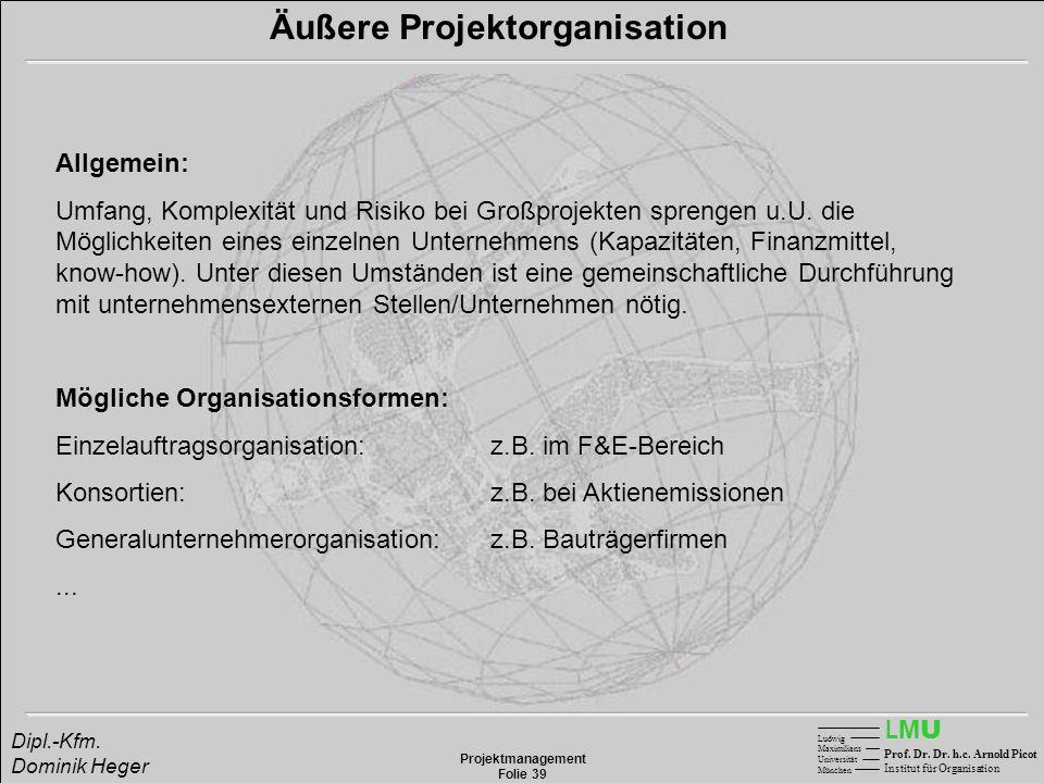 LMULMU Ludwig Maximilians Universität München Prof. Dr. Dr. h.c. Arnold Picot Institut für Organisation Projektmanagement Folie 39 Dipl.-Kfm. Dominik