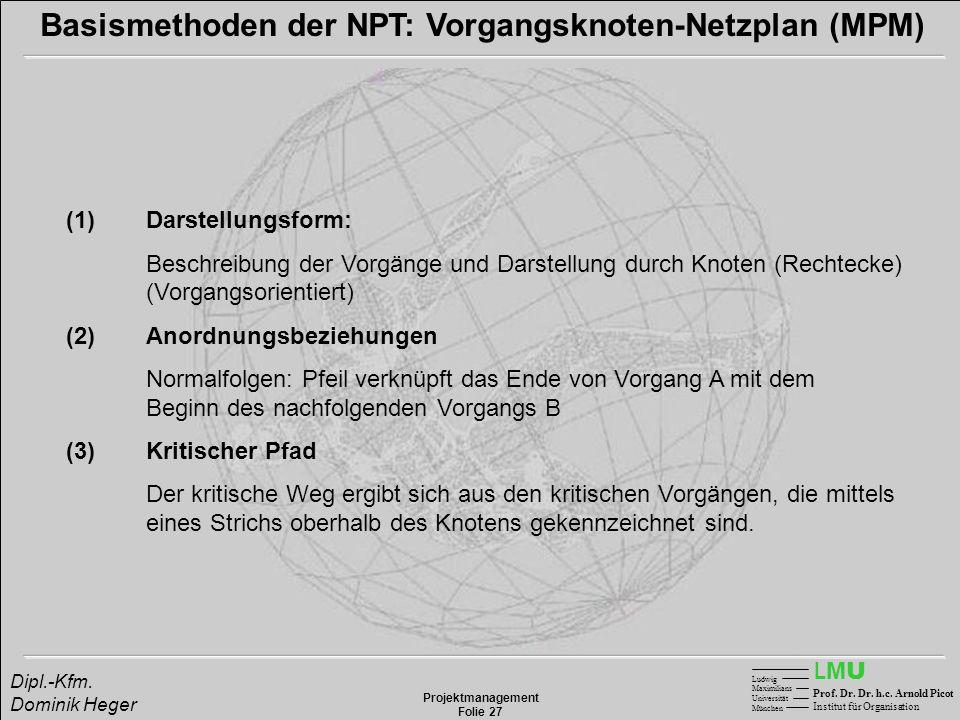 LMULMU Ludwig Maximilians Universität München Prof. Dr. Dr. h.c. Arnold Picot Institut für Organisation Projektmanagement Folie 27 Dipl.-Kfm. Dominik