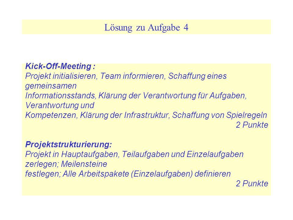 Lösung zu Aufgabe 4 Kick-Off-Meeting : Projekt initialisieren, Team informieren, Schaffung eines gemeinsamen Informationsstands, Klärung der Verantwor