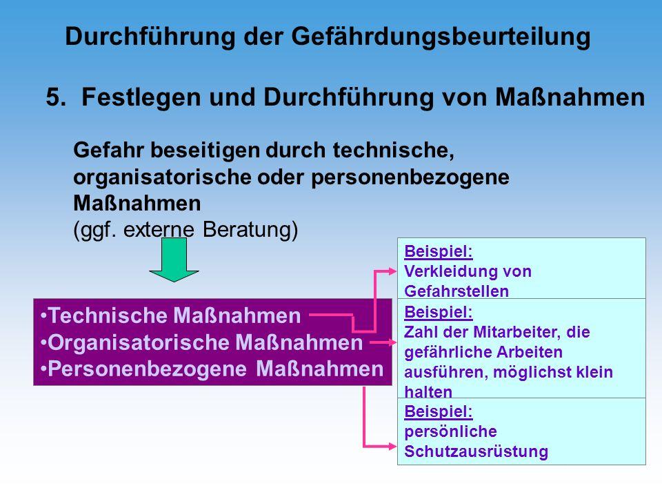 5. Festlegen und Durchführung von Maßnahmen Gefahr beseitigen durch technische, organisatorische oder personenbezogene Maßnahmen (ggf. externe Beratun