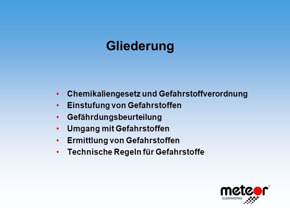 Gliederung Chemikaliengesetz und Gefahrstoffverordnung Einstufung von Gefahrstoffen Gefährdungsbeurteilung Umgang mit Gefahrstoffen Ermittlung von Gef