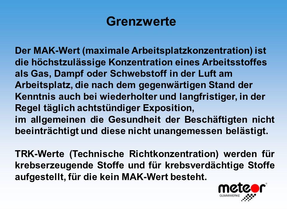 Grenzwerte Der MAK-Wert (maximale Arbeitsplatzkonzentration) ist die höchstzulässige Konzentration eines Arbeitsstoffes als Gas, Dampf oder Schwebstof