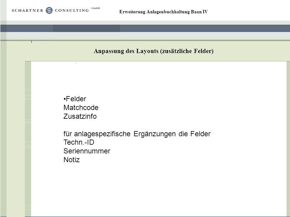 Erweiterung Anlagenbuchhaltung Baan IV Anpassung des Layouts (zusätzliche Felder) Felder Matchcode Zusatzinfo für anlagespezifische Ergänzungen die Fe