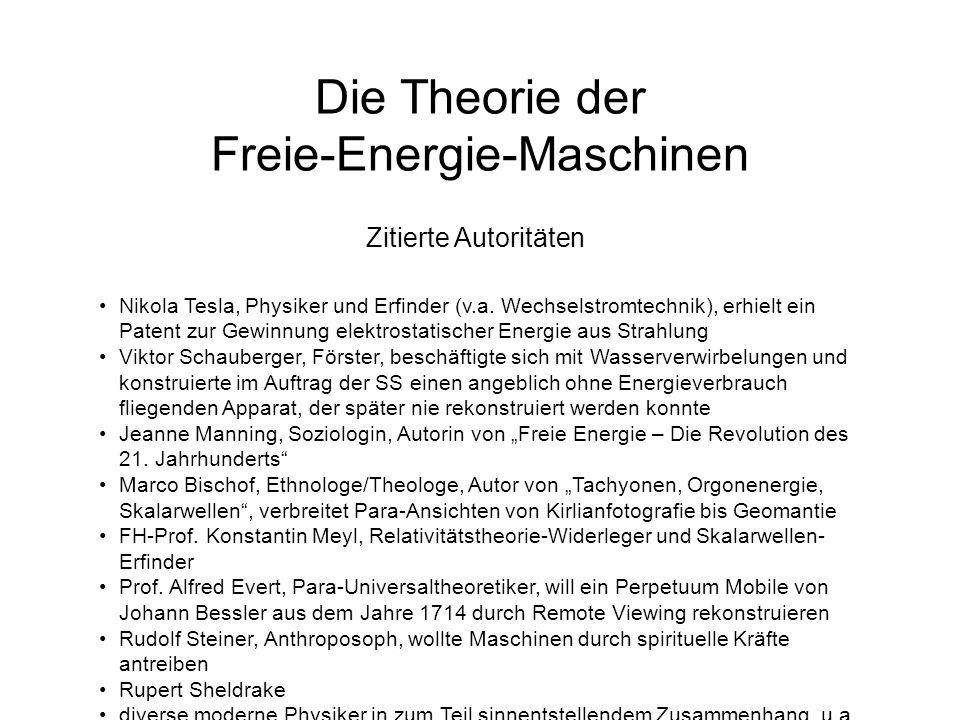 Die Theorie der Freie-Energie-Maschinen Zitierte Autoritäten Nikola Tesla, Physiker und Erfinder (v.a. Wechselstromtechnik), erhielt ein Patent zur Ge