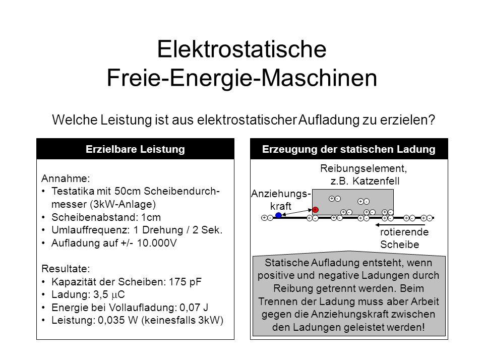 Elektrostatische Freie-Energie-Maschinen Welche Leistung ist aus elektrostatischer Aufladung zu erzielen? Erzielbare Leistung Annahme: Testatika mit 5