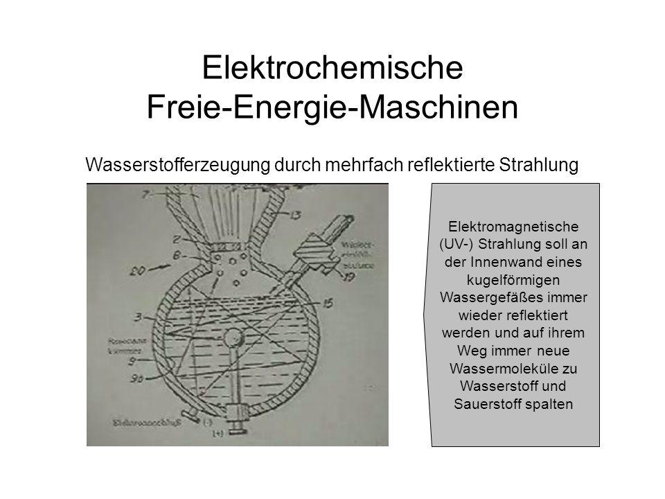 Elektrochemische Freie-Energie-Maschinen Wasserstofferzeugung durch mehrfach reflektierte Strahlung Elektromagnetische (UV-) Strahlung soll an der Inn