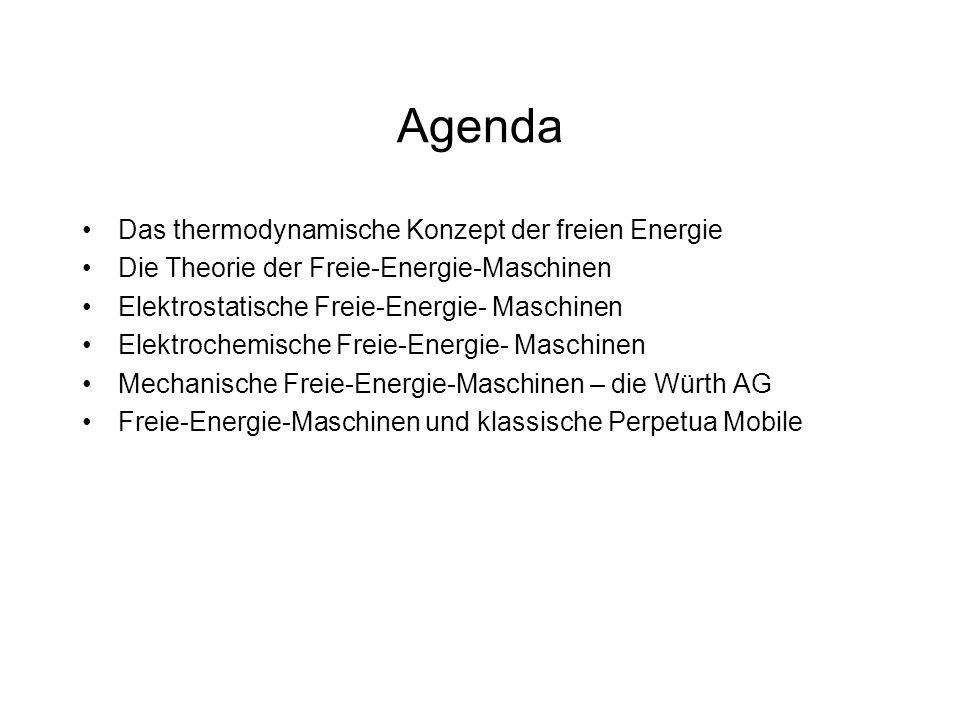 Agenda Das thermodynamische Konzept der freien Energie Die Theorie der Freie-Energie-Maschinen Elektrostatische Freie-Energie- Maschinen Elektrochemis