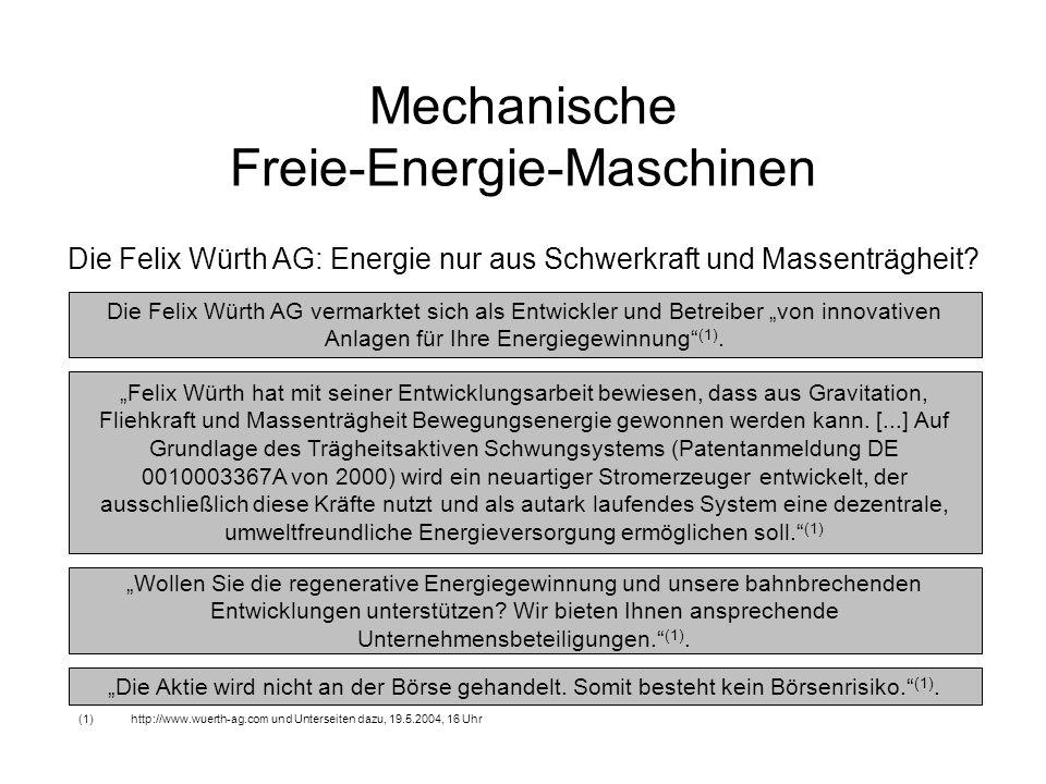 Mechanische Freie-Energie-Maschinen Die Felix Würth AG: Energie nur aus Schwerkraft und Massenträgheit? Die Felix Würth AG vermarktet sich als Entwick
