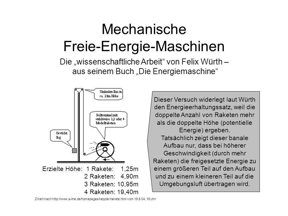 Mechanische Freie-Energie-Maschinen Die wissenschaftliche Arbeit von Felix Würth – aus seinem Buch Die Energiemaschine Zitiert nach http://www.s-line.