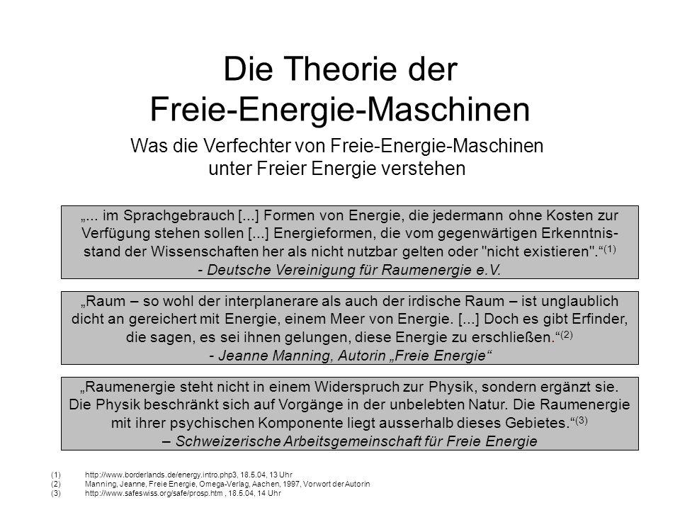 Mechanische Freie-Energie-Maschinen Die wissenschaftliche Arbeit von Felix Würth – aus seinem Buch Die Energiemaschine Zitiert nach http://www.s-line.de/homepages/keppler/rakete.html vom 19.5.04, 16 Uhr Erzielte Höhe: 1 Rakete: 1,25m 2 Raketen: 4,90m 3 Raketen: 10,95m 4 Raketen: 19,40m Dieser Versuch widerlegt laut Würth den Energieerhaltungssatz, weil die doppelte Anzahl von Raketen mehr als die doppelte Höhe (potentielle Energie) ergeben.