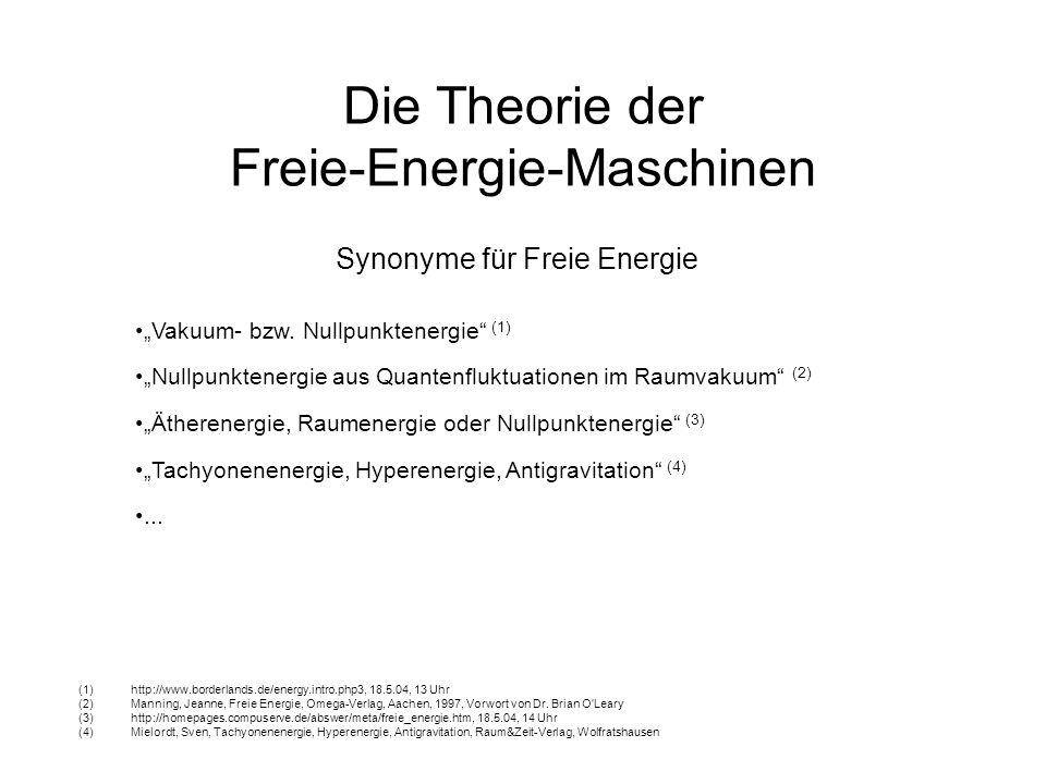 Die Theorie der Freie-Energie-Maschinen Häufig genannte Beispiele für Freie Energie Freie-Energie-Maschinen im eigentlichen Sinne, (scheinbarer?) Widerspruch zu physikalischen Erhaltungssätzen Energie aus Permanentmagneten Energie aus Elektrostatik Energie aus Schwerkraft und Fliehkräften Energie aus geschlossenen chemischen Kreisläufen Kalte Kernfusion Energie aus Wärmepumpen Wasserkraft Windkraft Sonnenenergie Brennstoffzellen...