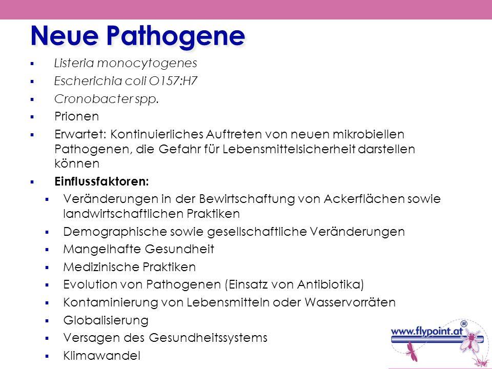 Neue Pathogene Listeria monocytogenes Escherichia coli O157:H7 Cronobacter spp. Prionen Erwartet: Kontinuierliches Auftreten von neuen mikrobiellen Pa