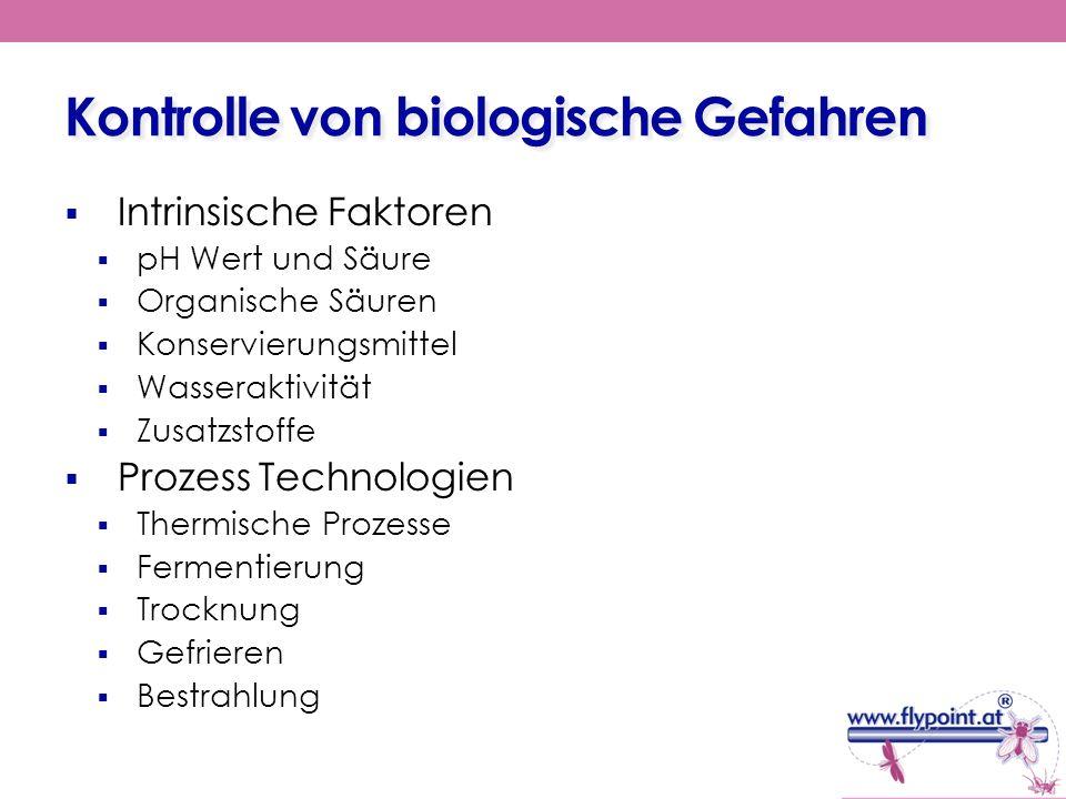 Kontrolle von biologische Gefahren Intrinsische Faktoren pH Wert und Säure Organische Säuren Konservierungsmittel Wasseraktivität Zusatzstoffe Prozess