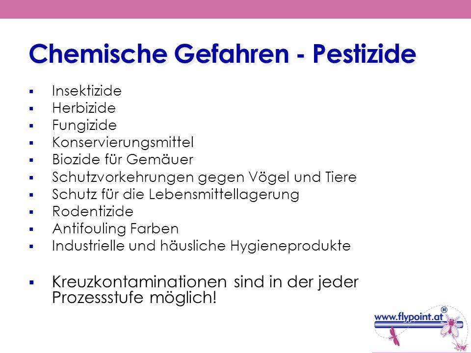 Chemische Gefahren - Pestizide Insektizide Herbizide Fungizide Konservierungsmittel Biozide für Gemäuer Schutzvorkehrungen gegen Vögel und Tiere Schut