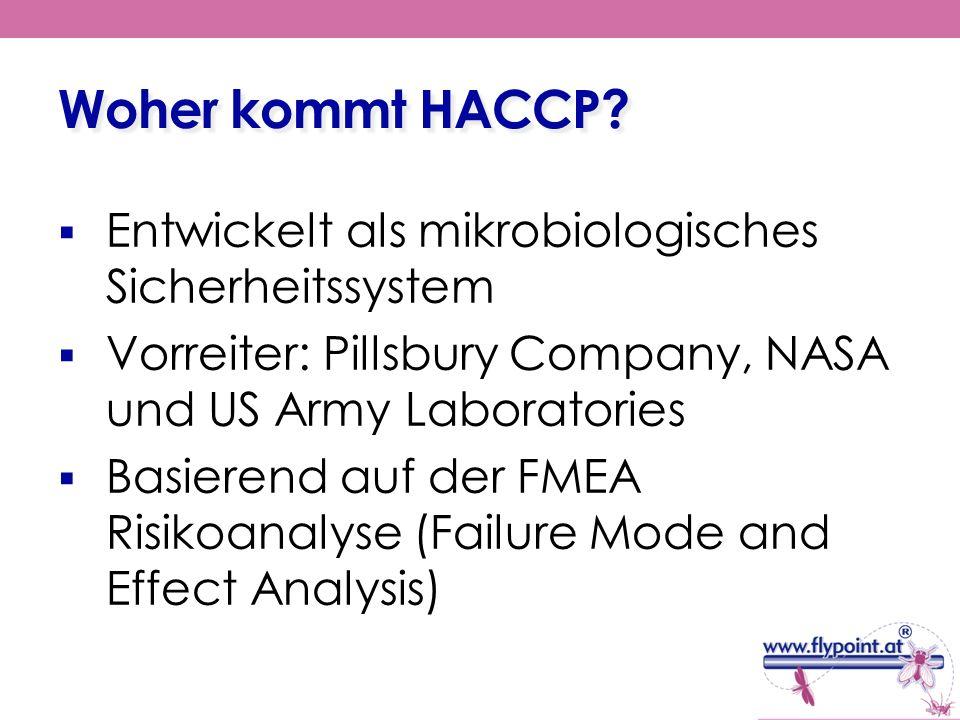 Woher kommt HACCP? Entwickelt als mikrobiologisches Sicherheitssystem Vorreiter: Pillsbury Company, NASA und US Army Laboratories Basierend auf der FM