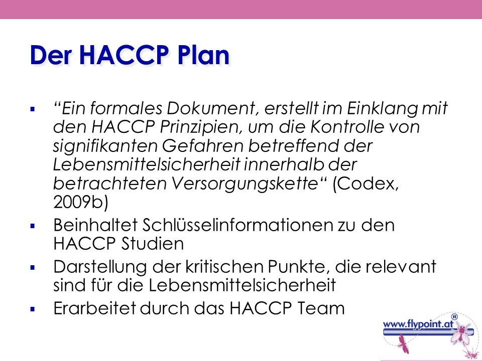 Der HACCP Plan Ein formales Dokument, erstellt im Einklang mit den HACCP Prinzipien, um die Kontrolle von signifikanten Gefahren betreffend der Lebens