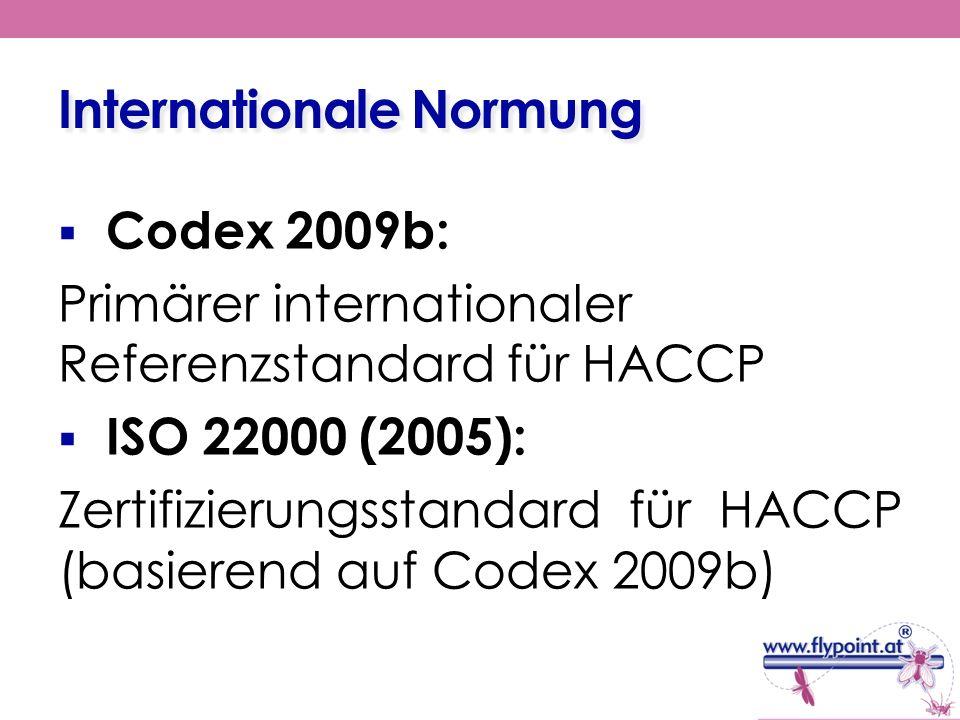 Internationale Normung Codex 2009b: Primärer internationaler Referenzstandard für HACCP ISO 22000 (2005): Zertifizierungsstandard für HACCP (basierend