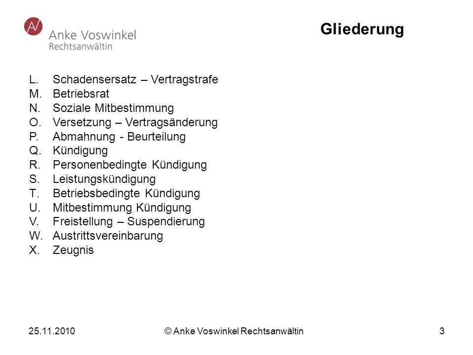 25.11.2010 © Anke Voswinkel Rechtsanwältin 3 Gliederung L. Schadensersatz – Vertragstrafe M. Betriebsrat N.Soziale Mitbestimmung O. Versetzung – Vertr
