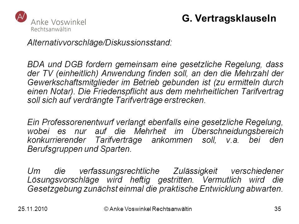 25.11.2010 © Anke Voswinkel Rechtsanwältin 35 G. Vertragsklauseln Alternativvorschläge/Diskussionsstand: BDA und DGB fordern gemeinsam eine gesetzlich