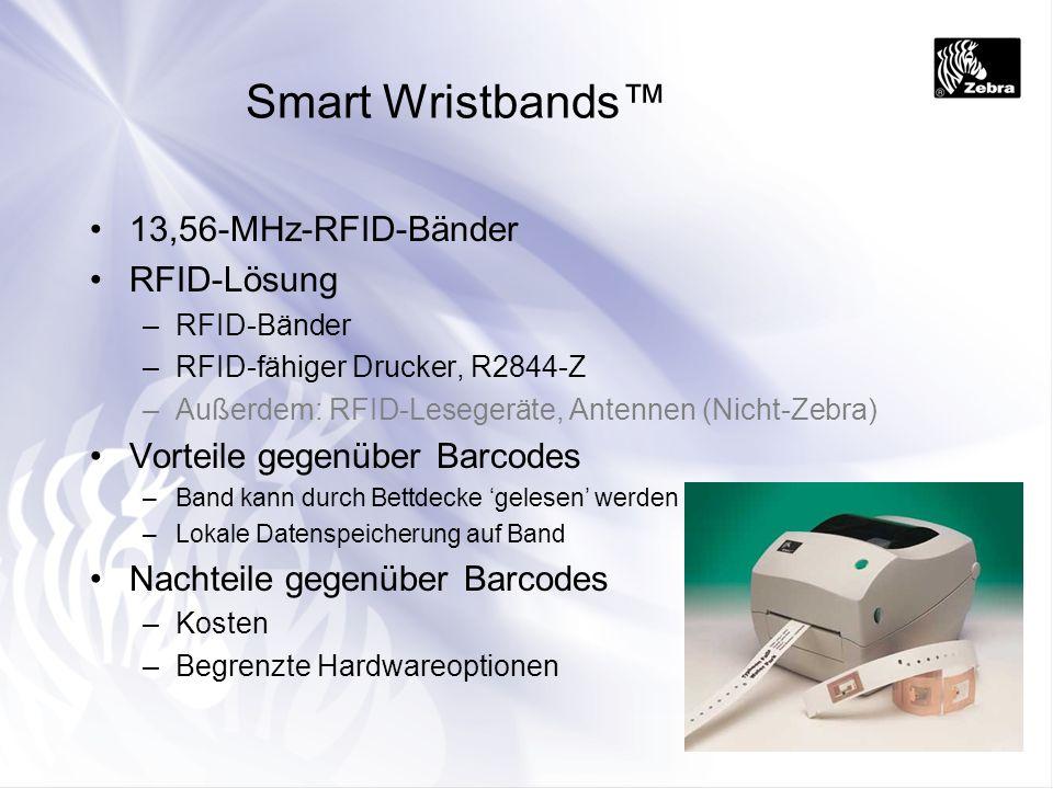 Smart Wristbands 13,56-MHz-RFID-Bänder RFID-Lösung –RFID-Bänder –RFID-fähiger Drucker, R2844-Z –Außerdem: RFID-Lesegeräte, Antennen (Nicht-Zebra) Vort