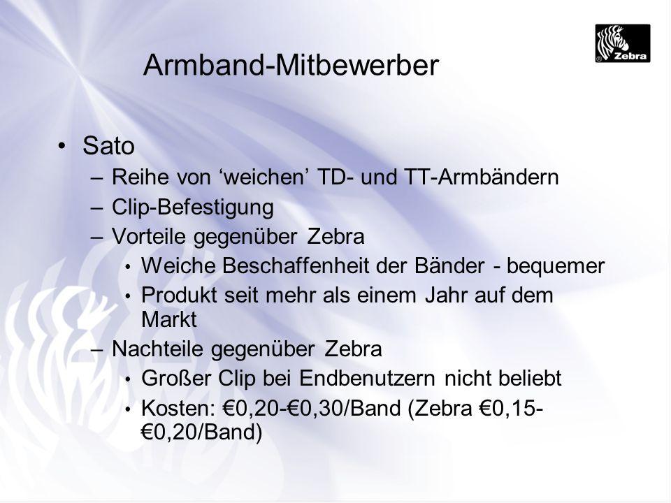 Armband-Mitbewerber Sato –Reihe von weichen TD- und TT-Armbändern –Clip-Befestigung –Vorteile gegenüber Zebra Weiche Beschaffenheit der Bänder - beque
