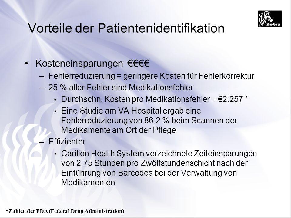 Vorteile der Patientenidentifikation Kosteneinsparungen –Fehlerreduzierung = geringere Kosten für Fehlerkorrektur –25 % aller Fehler sind Medikationsf