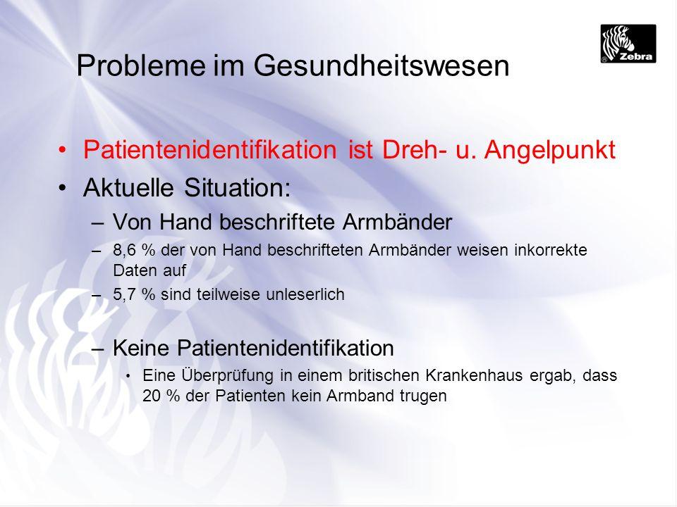 Probleme im Gesundheitswesen Patientenidentifikation ist Dreh- u. Angelpunkt Aktuelle Situation: –Von Hand beschriftete Armbänder –8,6 % der von Hand