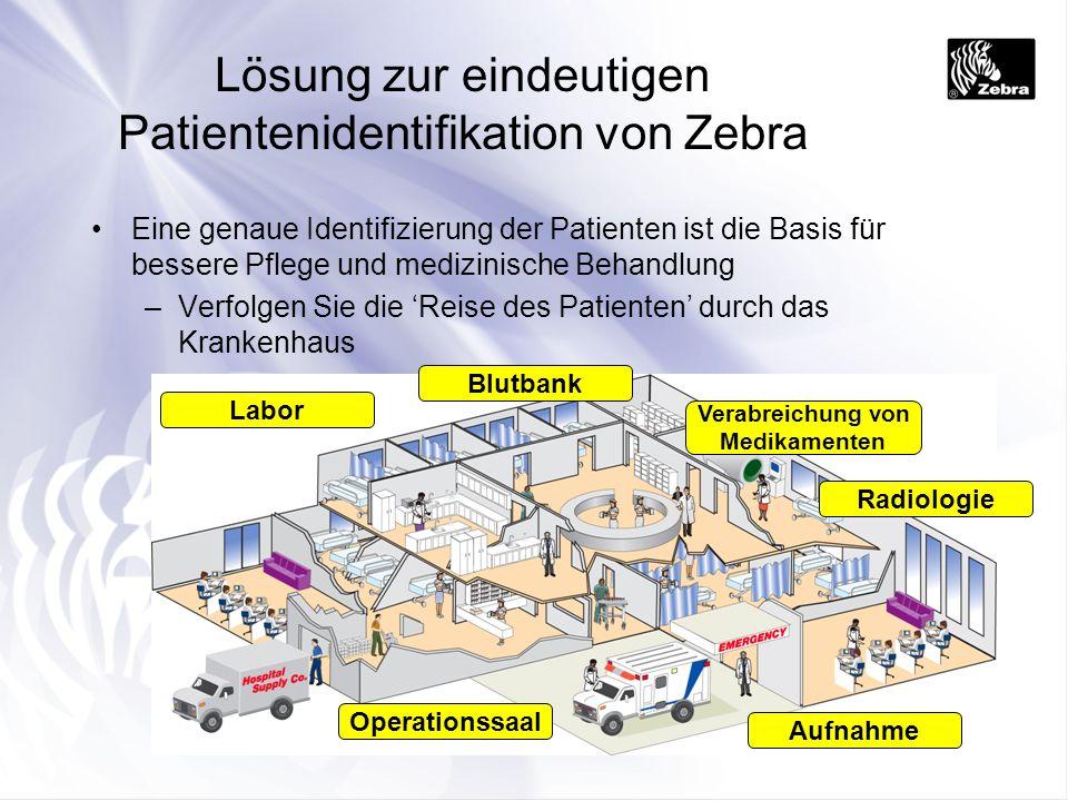 Aufnahme Radiologie Verabreichung von Medikamenten Operationssaal Labor Blutbank Lösung zur eindeutigen Patientenidentifikation von Zebra Eine genaue