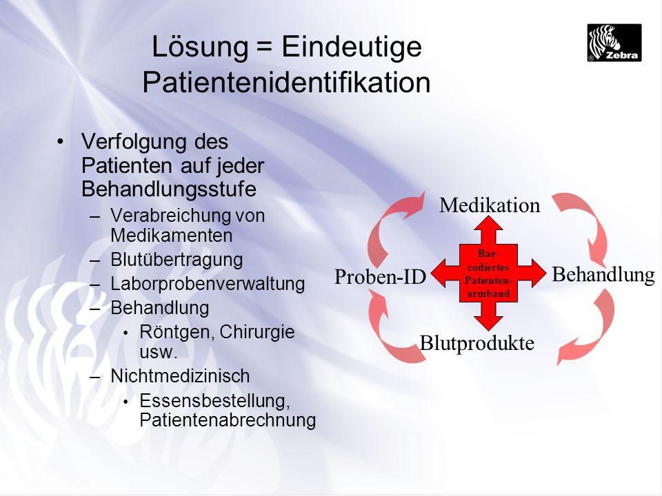 Lösung = Eindeutige Patientenidentifikation Verfolgung des Patienten auf jeder Behandlungsstufe –Verabreichung von Medikamenten –Blutübertragung –Labo