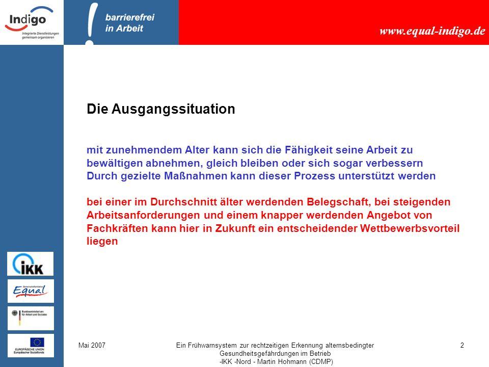 www.equal-indigo.de Mai 2007Ein Frühwarnsystem zur rechtzeitigen Erkennung alternsbedingter Gesundheitsgefährdungen im Betrieb -IKK -Nord - Martin Hohmann (CDMP) 13 Welche Vorteile ergibt das für Mitarbeiter und Betrieb.