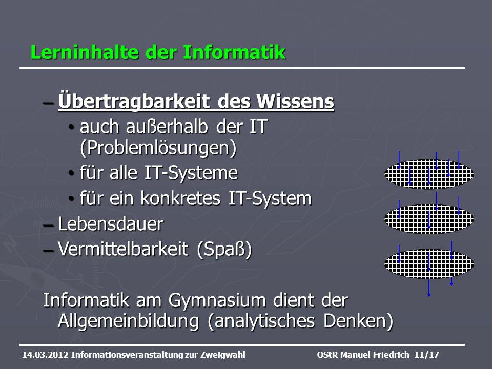 Lerninhalte der Informatik 14.03.2012 Informationsveranstaltung zur ZweigwahlOStR Manuel Friedrich 11/17 – Übertragbarkeit des Wissens auch außerhalb