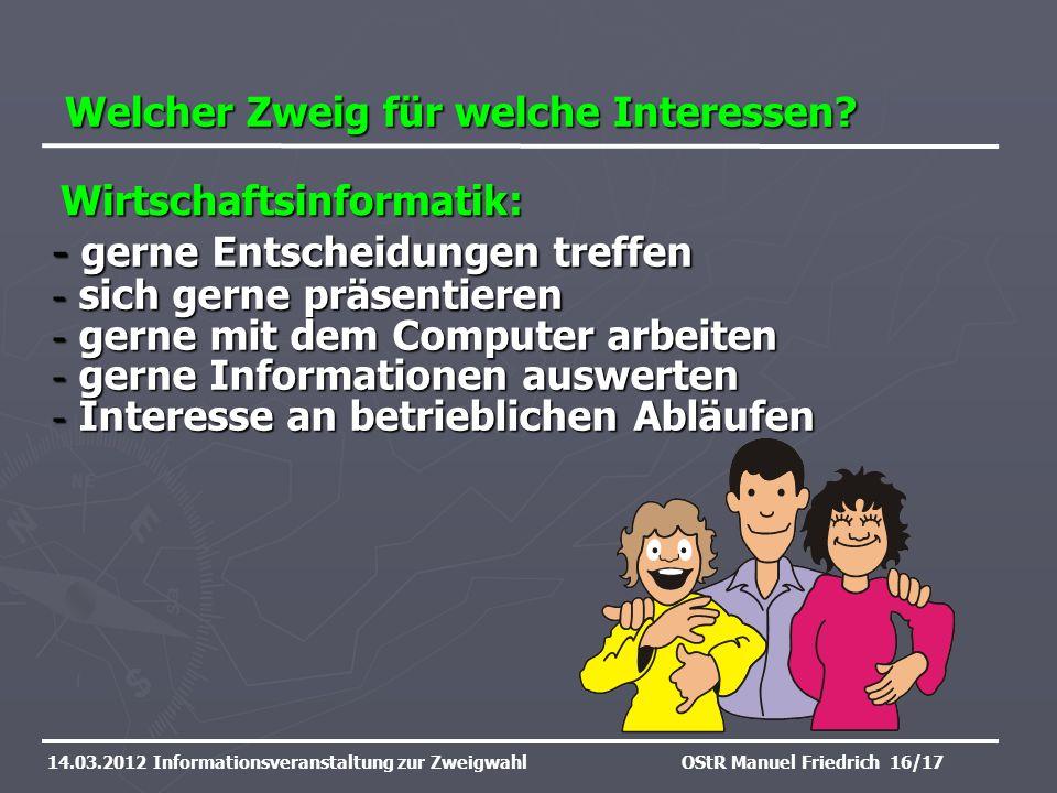 Welcher Zweig für welche Interessen? 14.03.2012 Informationsveranstaltung zur ZweigwahlOStR Manuel Friedrich 16/17 - gerne Entscheidungen treffen - si
