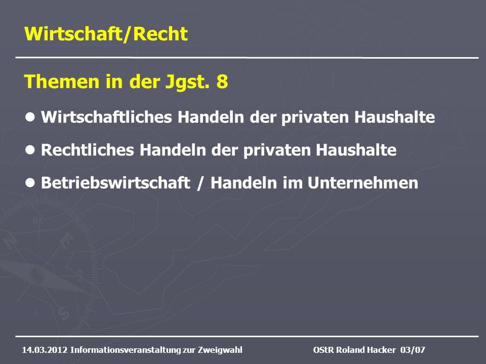 Wirtschaft/Recht 14.03.2012 Informationsveranstaltung zur ZweigwahlOStR Roland Hacker 03/07 Wirtschaftliches Handeln der privaten Haushalte Rechtliche