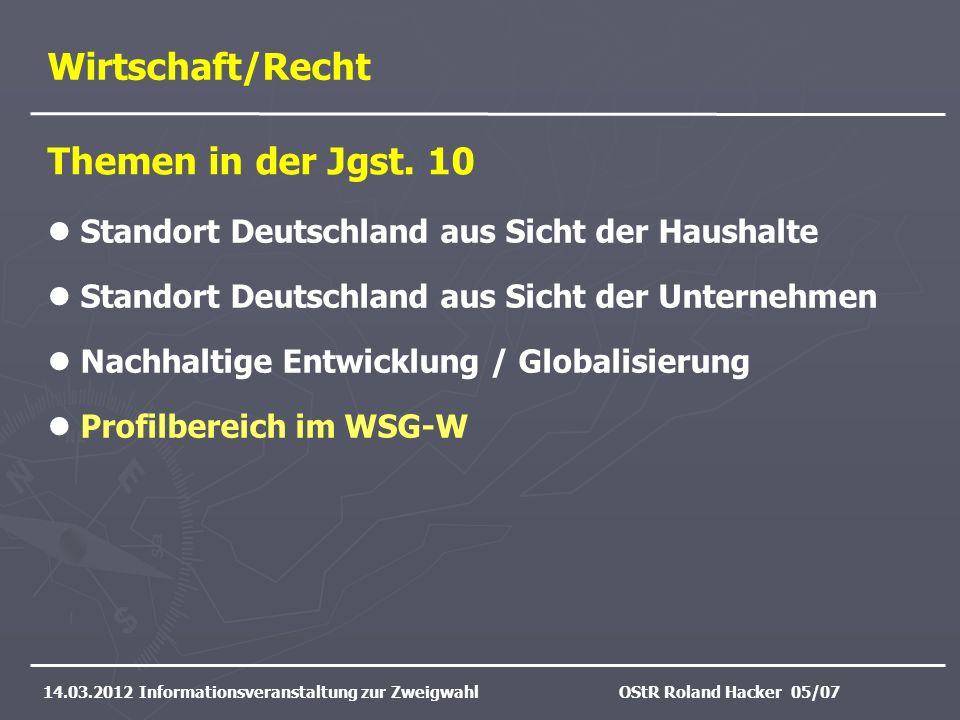 Wirtschaft/Recht 14.03.2012 Informationsveranstaltung zur ZweigwahlOStR Roland Hacker 05/07 Standort Deutschland aus Sicht der Haushalte Standort Deut