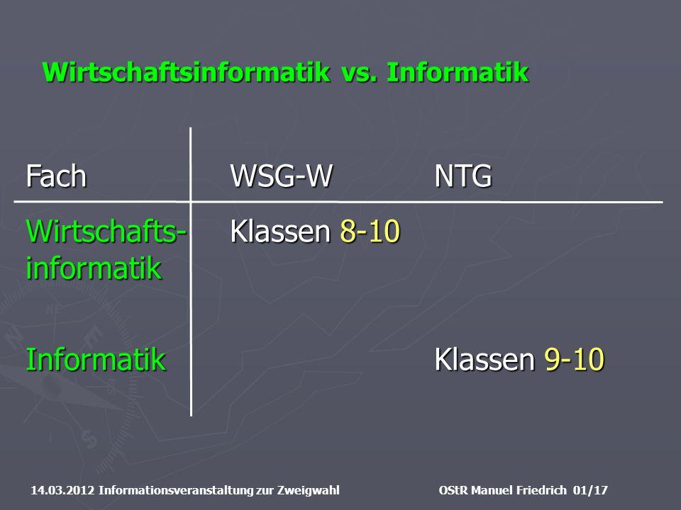 Wirtschaftsinformatik vs. Informatik 14.03.2012 Informationsveranstaltung zur ZweigwahlOStR Manuel Friedrich 01/17 FachWSG-WNTG Wirtschafts-Klassen 8-