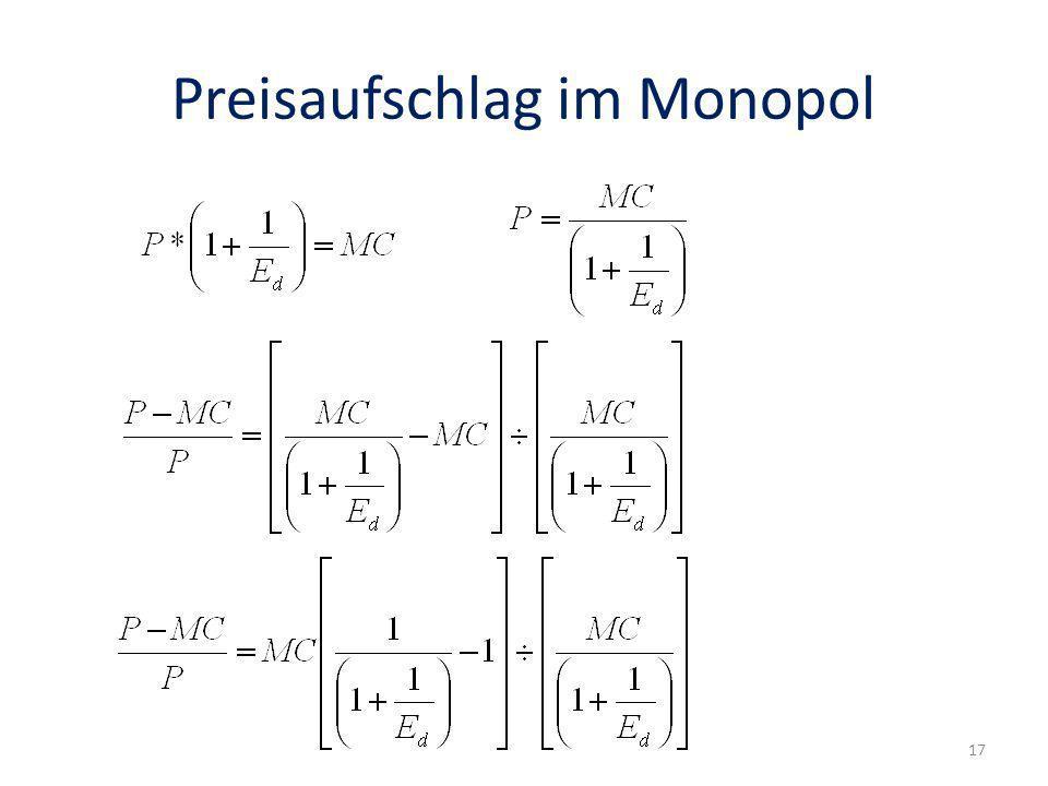 Preisaufschlag im Monopol 17