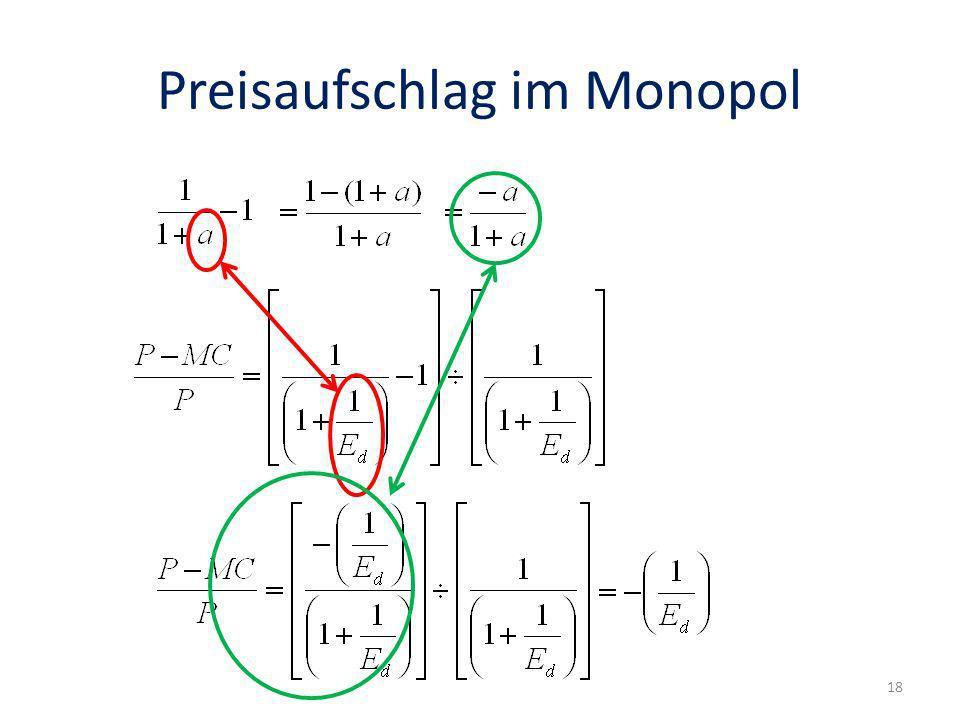 Preisaufschlag im Monopol 18