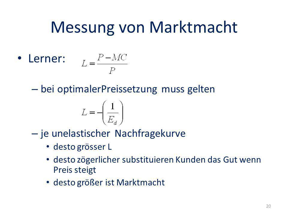 Messung von Marktmacht Lerner: – bei optimalerPreissetzung muss gelten – je unelastischer Nachfragekurve desto grösser L desto zögerlicher substituier