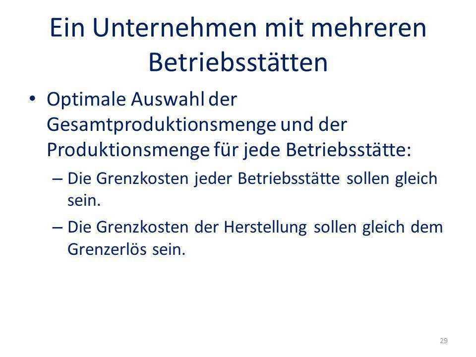 Ein Unternehmen mit mehreren Betriebsstätten Optimale Auswahl der Gesamtproduktionsmenge und der Produktionsmenge für jede Betriebsstätte: – Die Grenz