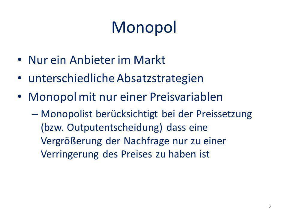 Monopol Nur ein Anbieter im Markt unterschiedliche Absatzstrategien Monopol mit nur einer Preisvariablen – Monopolist berücksichtigt bei der Preissetz