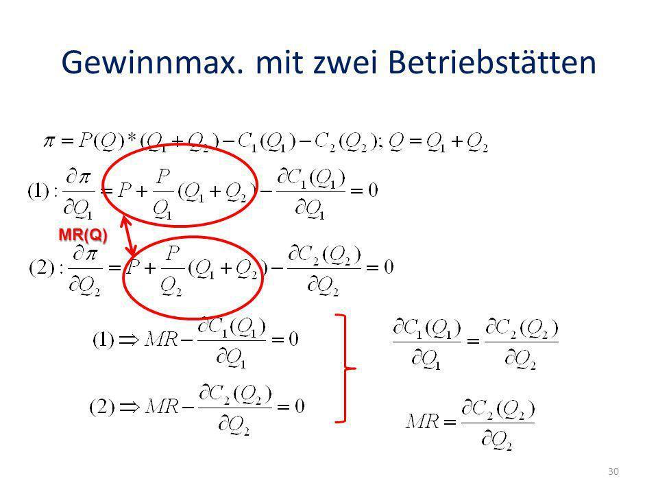 Gewinnmax. mit zwei Betriebstätten MR(Q) 30