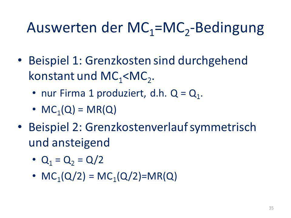 Auswerten der MC 1 =MC 2 -Bedingung Beispiel 1: Grenzkosten sind durchgehend konstant und MC 1 <MC 2. nur Firma 1 produziert, d.h. Q = Q 1. MC 1 (Q) =