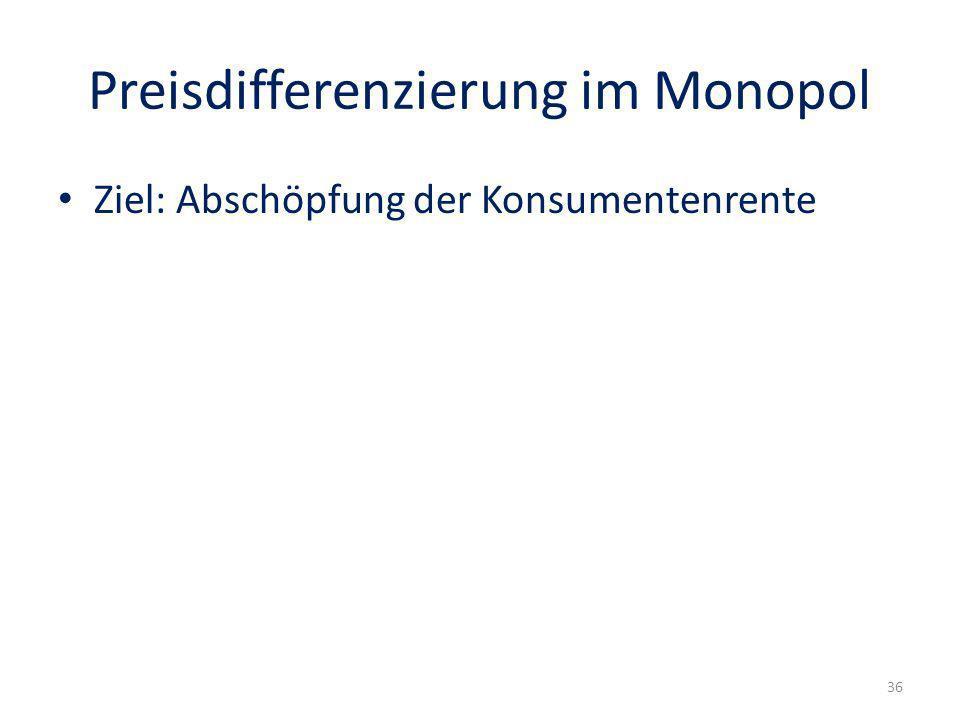 Preisdifferenzierung im Monopol Ziel: Abschöpfung der Konsumentenrente 36