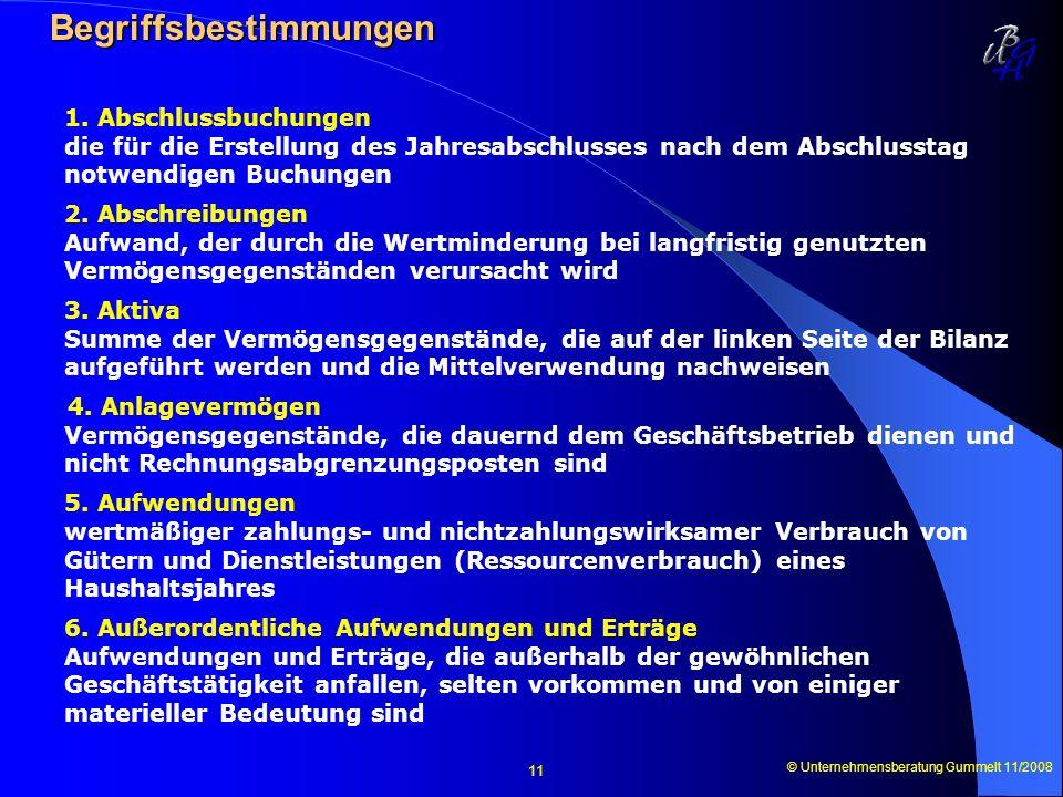 © Unternehmensberatung Gummelt 11/2008 11 Begriffsbestimmungen Begriffsbestimmungen 1. Abschlussbuchungen die für die Erstellung des Jahresabschlusses